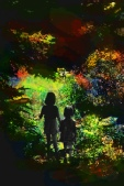 two children walking into a magical forest