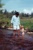 Mark with daughter, Gabriela, at a creek outside of Santa Margarita, California when we both were much younger
